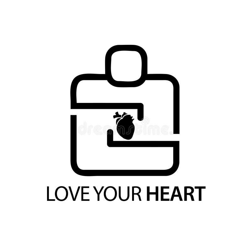 Povos com ícone do coração O conceito de ama seu coração ilustração royalty free