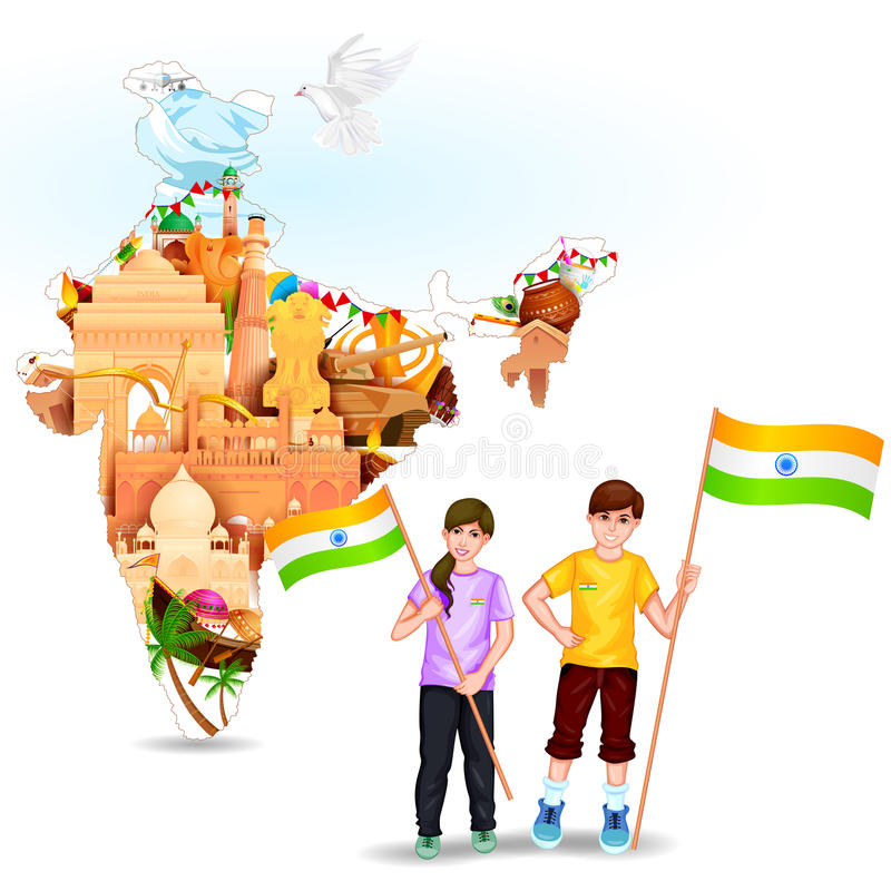 Povos com bandeira indiana ilustração do vetor