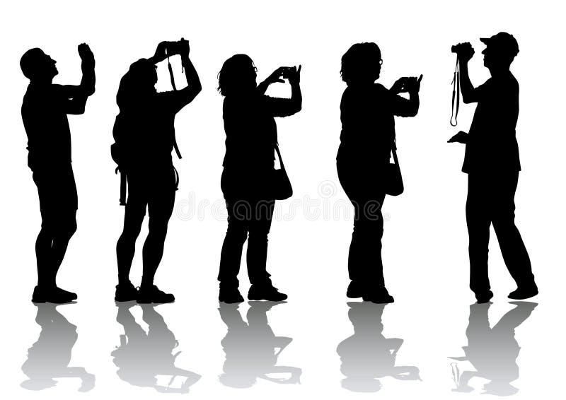 Povos com câmeras ilustração stock