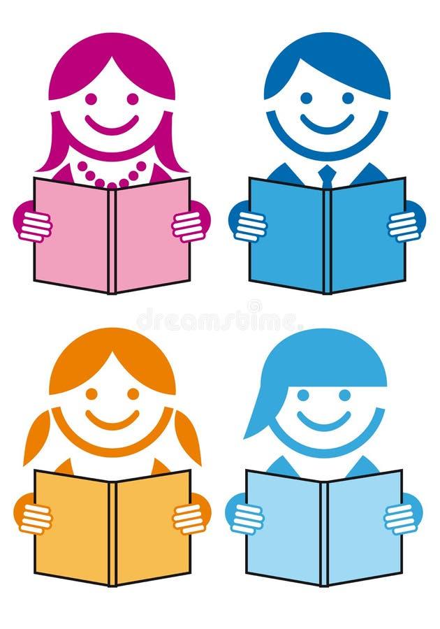 Povos com livros,   ilustração royalty free