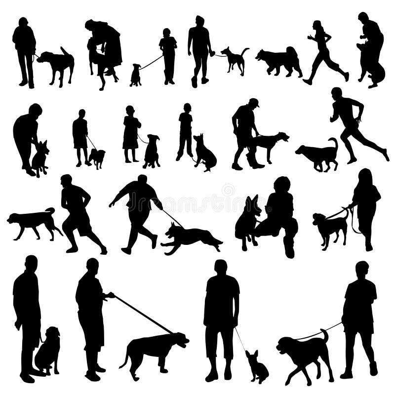 Povos com silhuetas dos cães ilustração stock