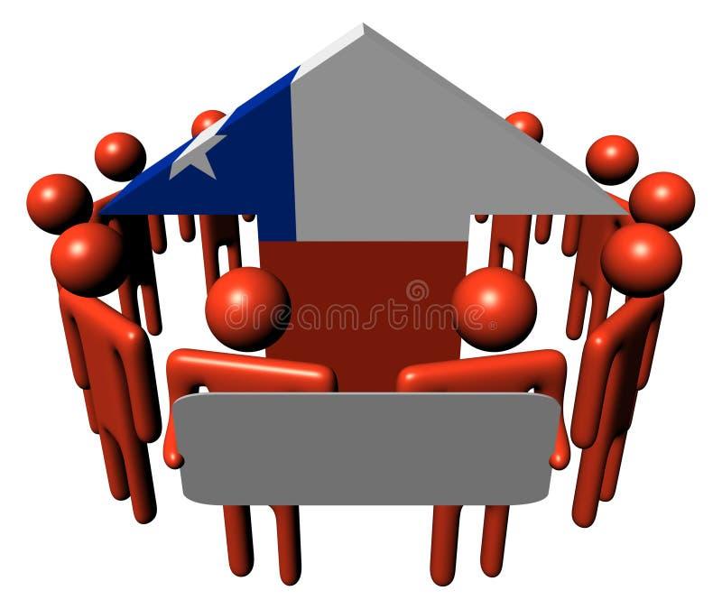 Povos com sinal e a seta chilena da bandeira ilustração stock
