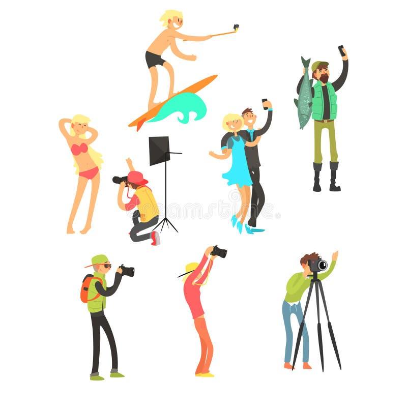 Povos criativos que levantam quando fotógrafo Taking Photos Jogo da ilustração do vetor ilustração do vetor