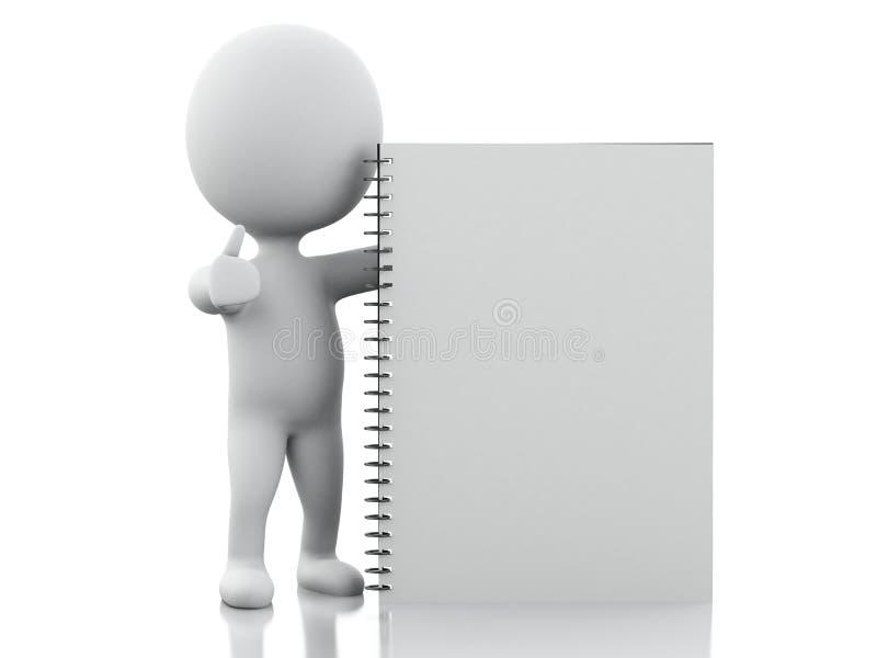 povos 3D brancos com bloco de notas ilustração stock