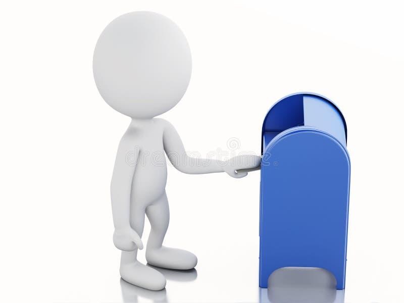 povos 3d brancos com caixa postal e envelope ilustração do vetor