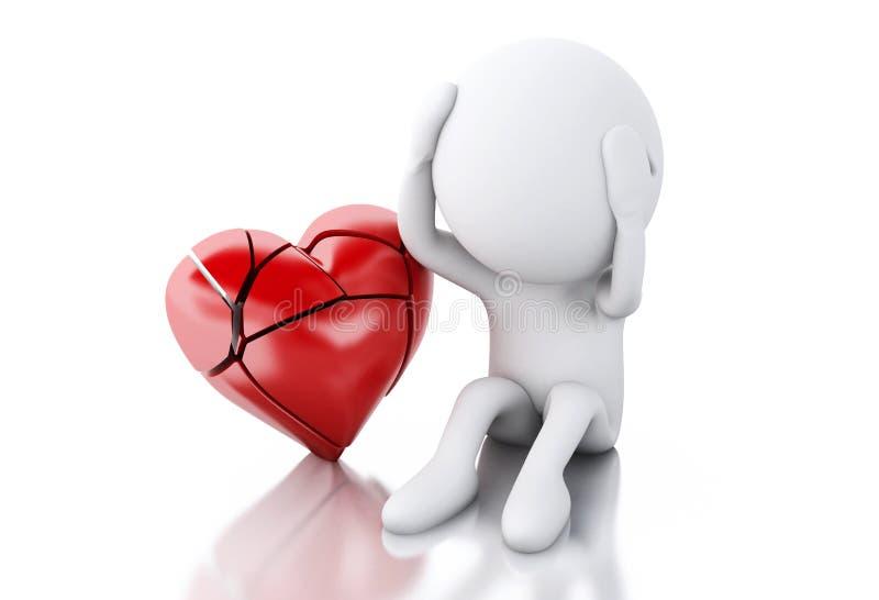 povos 3d brancos com o coração quebrado Conceito do amor ilustração royalty free
