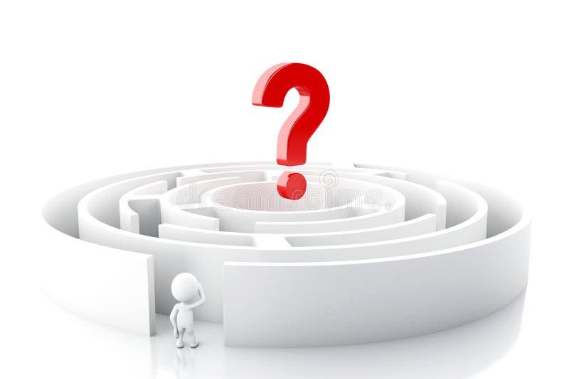 povos 3d brancos com um labirinto e um ponto de interroga??o ilustração do vetor