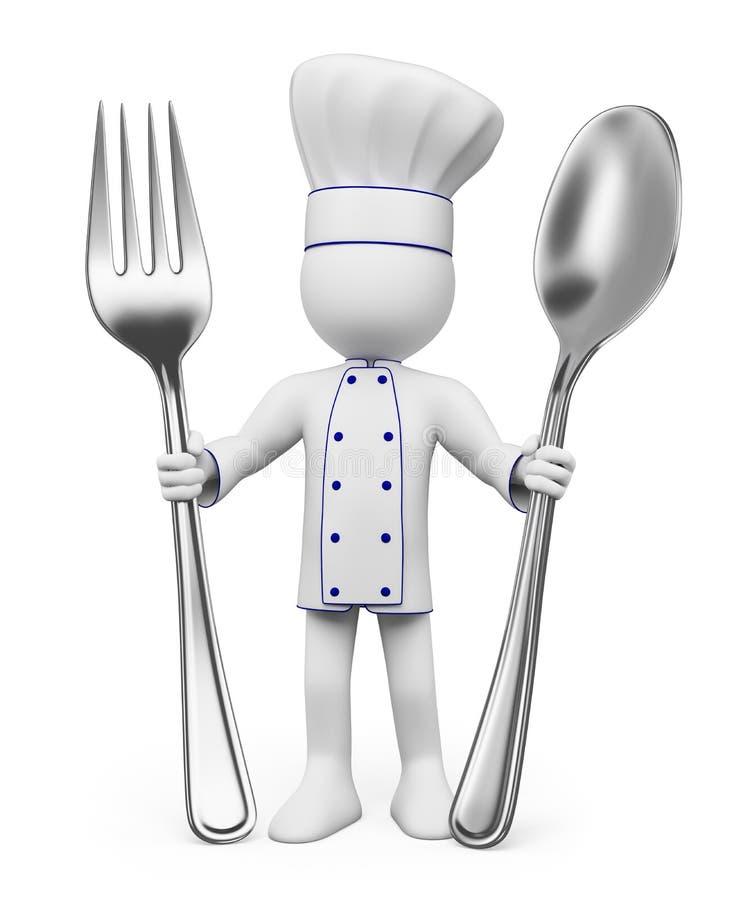 povos 3D brancos. Cozinheiro chefe ilustração royalty free