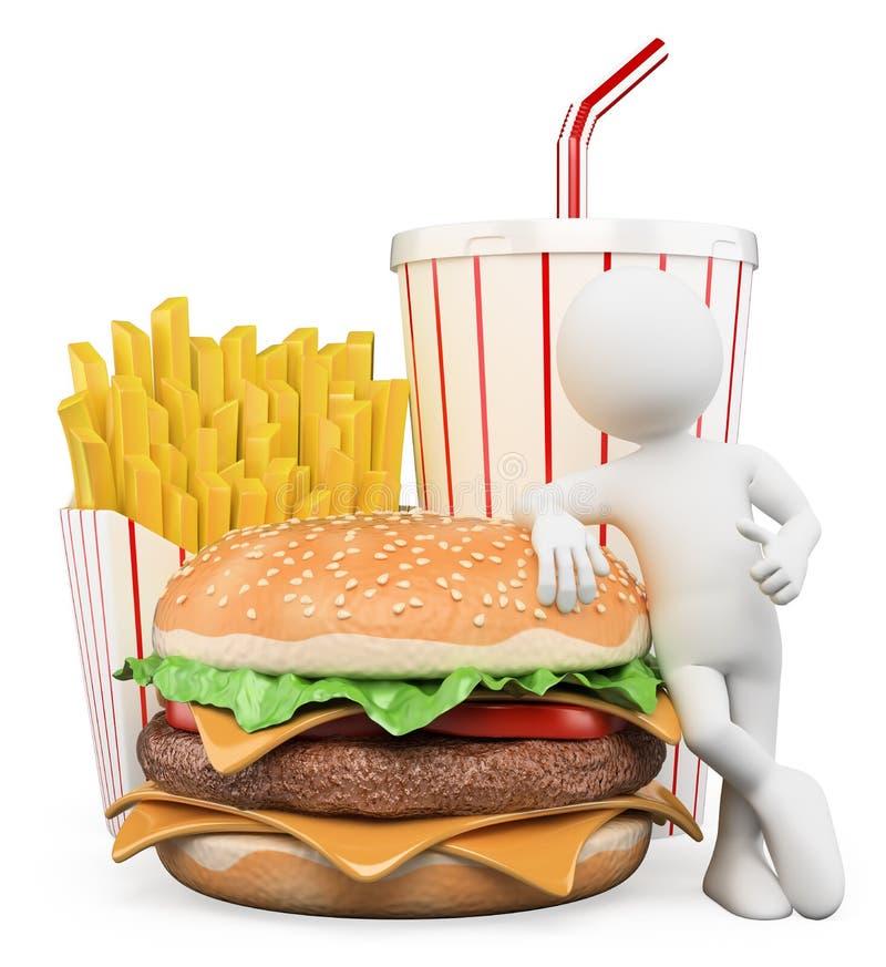 povos 3D brancos. Fast food. Bebida das fritadas do Hamburger ilustração do vetor