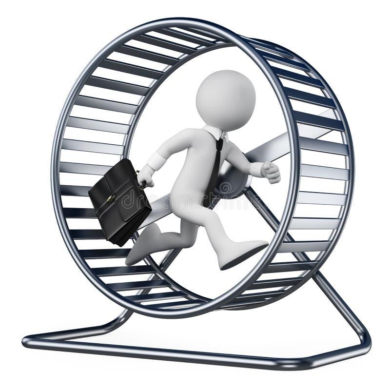 povos 3D brancos. Homem de negócios em uma roda do hamster ilustração do vetor