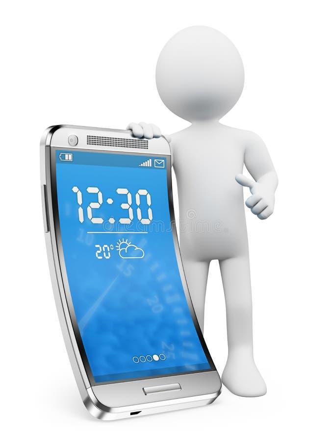 povos 3D brancos. Novas tecnologias. Smartphone flexível da tela ilustração stock