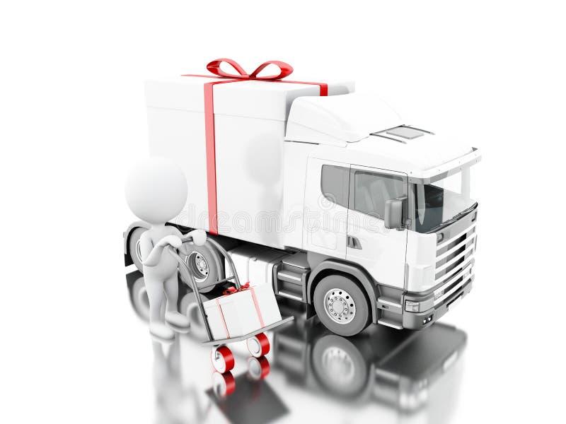 povos 3d brancos que entregam uma caixa de presente com caminhão e entrega ilustração stock