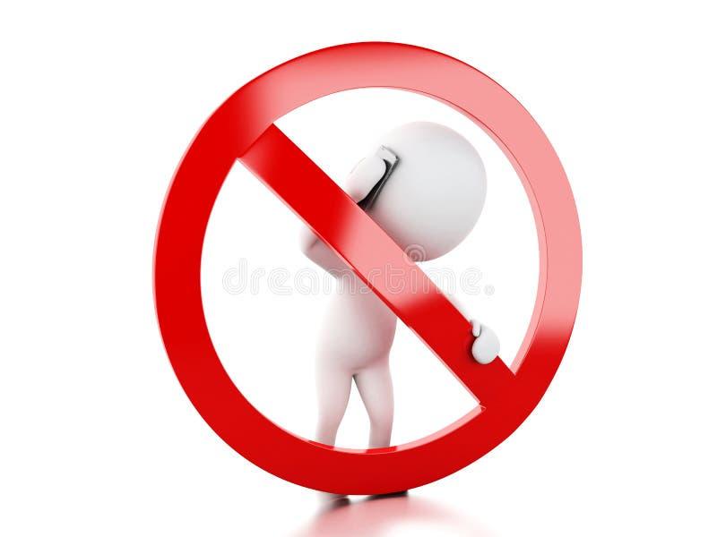 povos 3d brancos que falam no telefone cercado pelo proibido ilustração do vetor