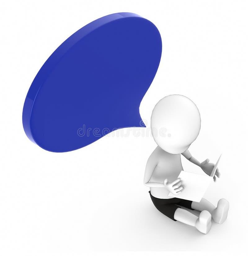 povos 3d brancos que olham um papel que guarda ao se sentar na terra - bolha azul do discurso apenas acima de sua cabeça ilustração stock