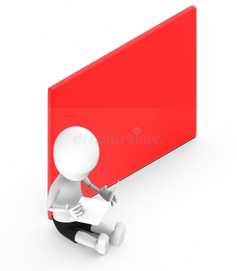 povos 3d brancos que olham um papel que guarda ao se sentar na terra ao lado de uma placa vazia vermelha da bandeira ilustração do vetor