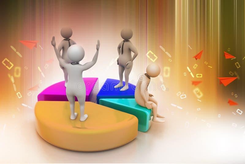 povos 3d com carta de torta, competição do negócio ilustração royalty free