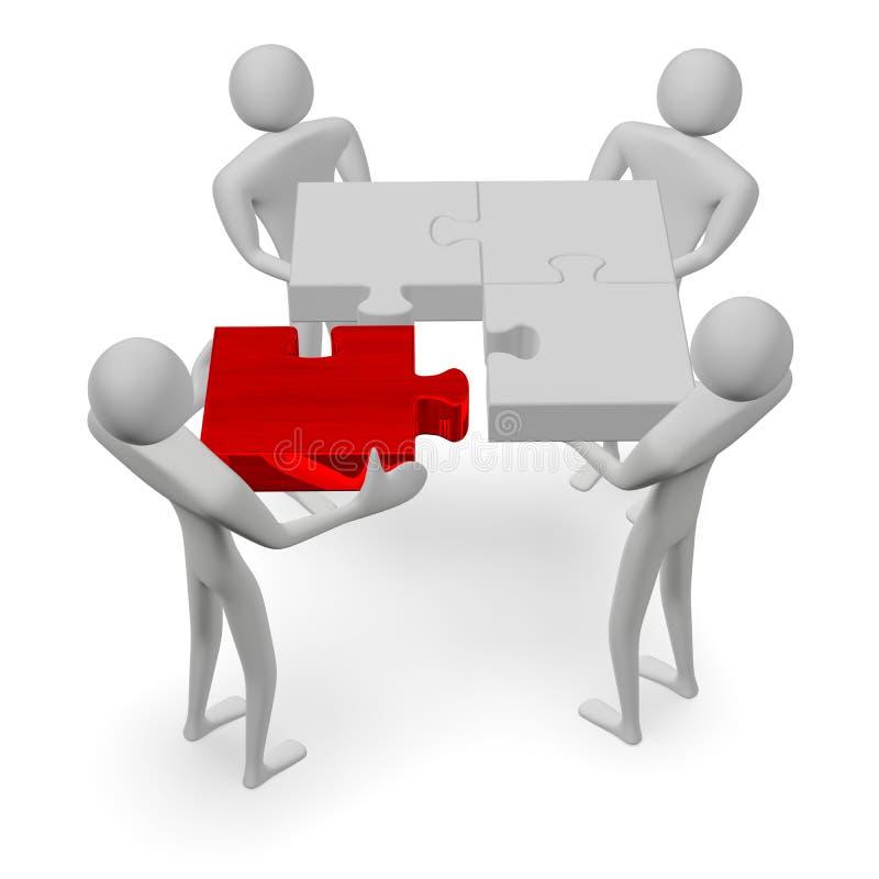 povos 3d com enigma cinzento e parte faltante vermelha ilustração do vetor
