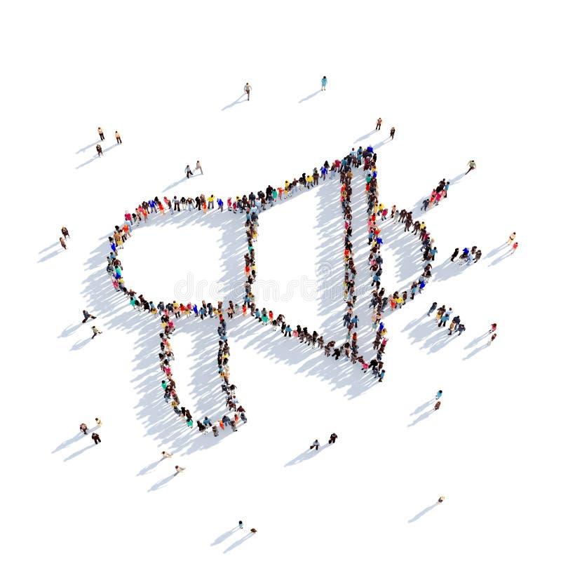 Povos 3d do altifalante de chifre ilustração do vetor