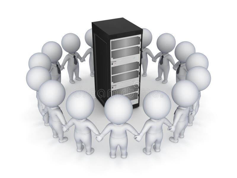 povos 3d pequenos em torno do servidor. ilustração stock