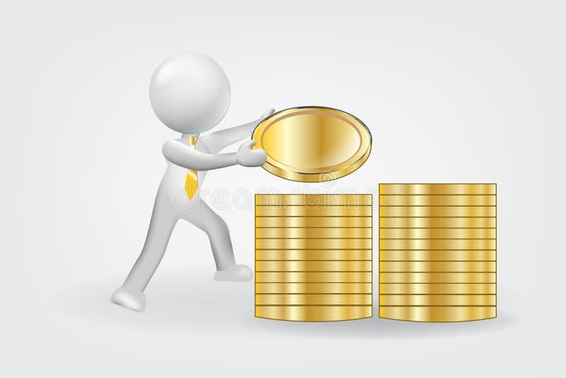 povos 3d pequenos Ilustração conservada em estoque do sucesso financeiro do dinheiro ilustração stock