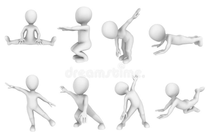 povos 3d pequenos no treinamento da aptidão ilustração do vetor