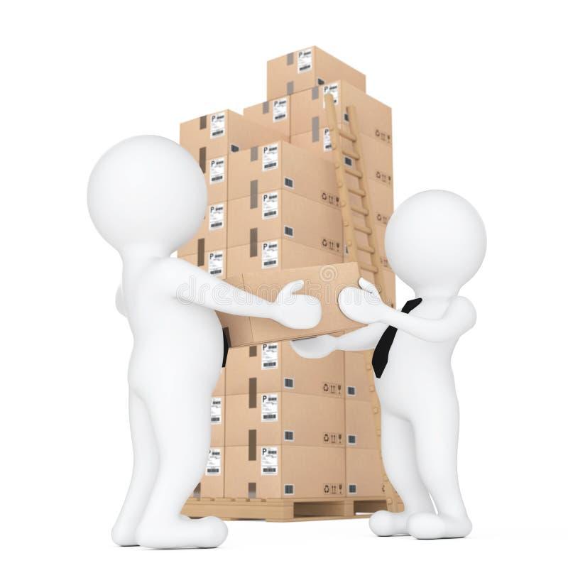 povos 3d pequenos que entregam uma caixa de cartão a uma outra pessoa 3d ilustração do vetor