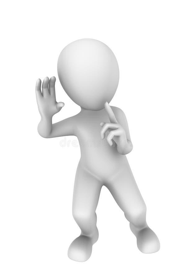 povos 3d pequenos Seja silencioso e escute ilustração 3D ilustração stock