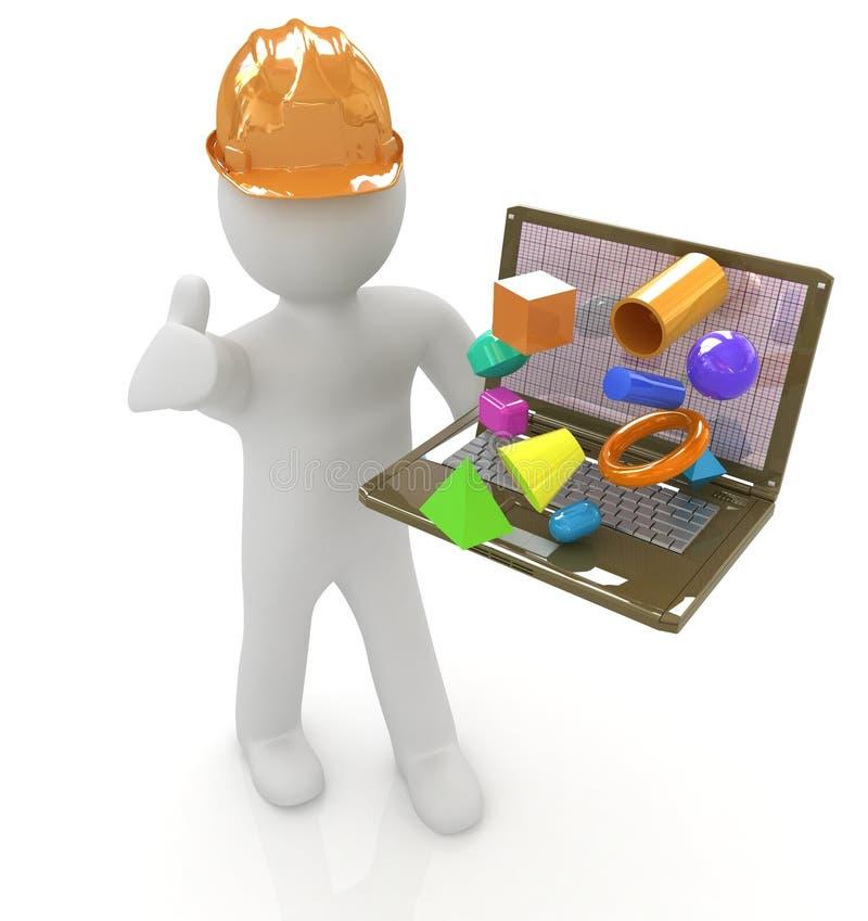 povos 3D pequenos - um coordenador com o portátil apresenta as capacidades 3D ilustração royalty free