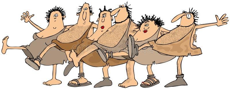 Povos da caverna que dançam no uníssono ilustração royalty free
