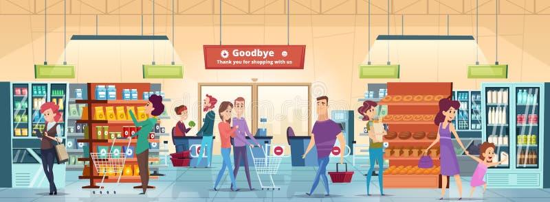 Povos da compra Caráteres no mercado varejo do alimento com vetor dos produtos do mantimento da compra do carrinho de compras ilustração do vetor