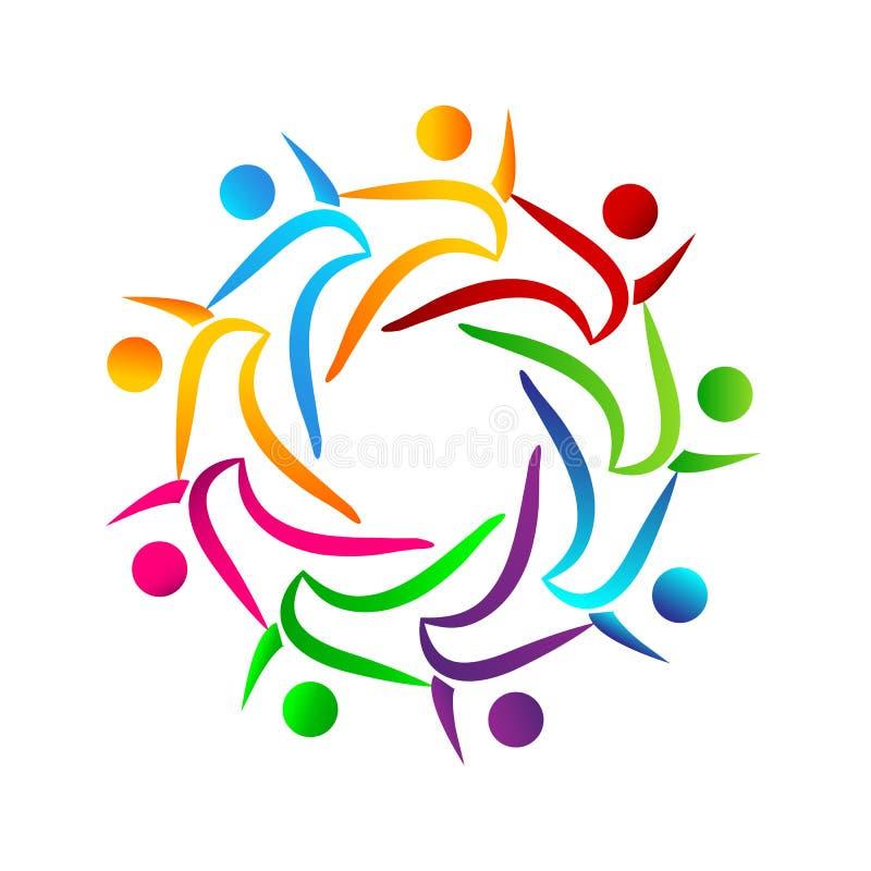 Povos da cor da união do trabalho da equipe dos povos junto os multi trabalham junto o logotipo com laço, executivos do logotipo ilustração royalty free