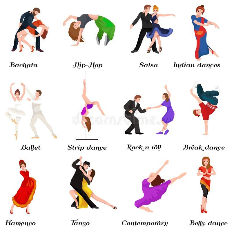 Povos da dança, dançarino Bachata, Hiphop, salsa, indiano, bailado, tira, rock and roll, ruptura, flamenco, tango ilustração do vetor
