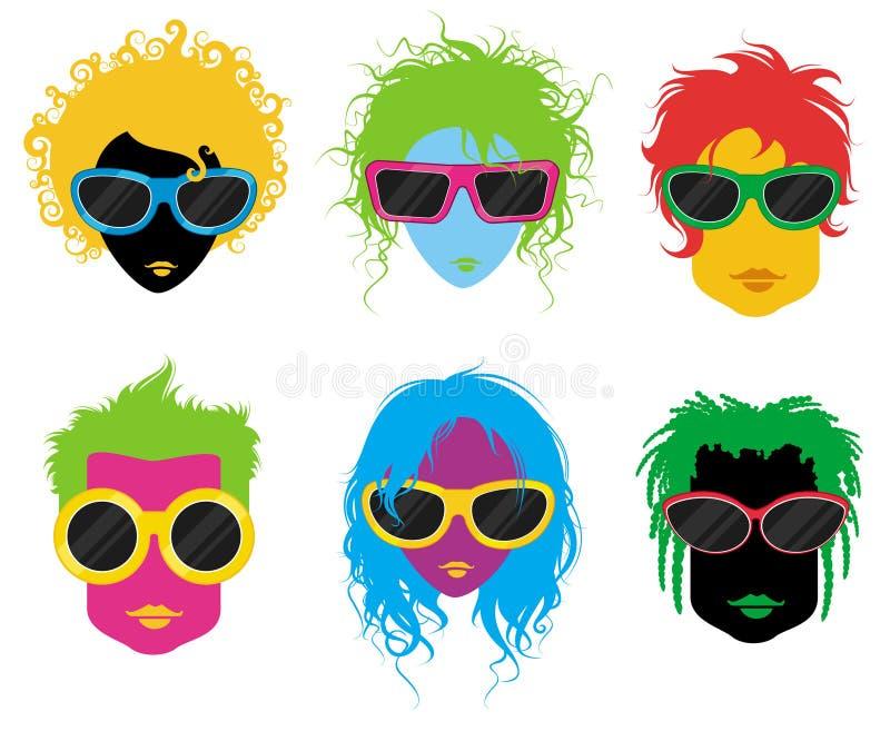 Povos da forma com óculos de sol ilustração stock