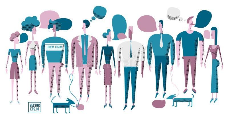 Povos da ilustração do vetor vários Os homens e as mulheres discutem notícias, ilustração stock