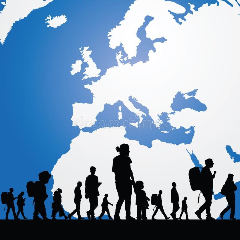 Povos da migração com o mapa na ilustração do fundo ilustração royalty free