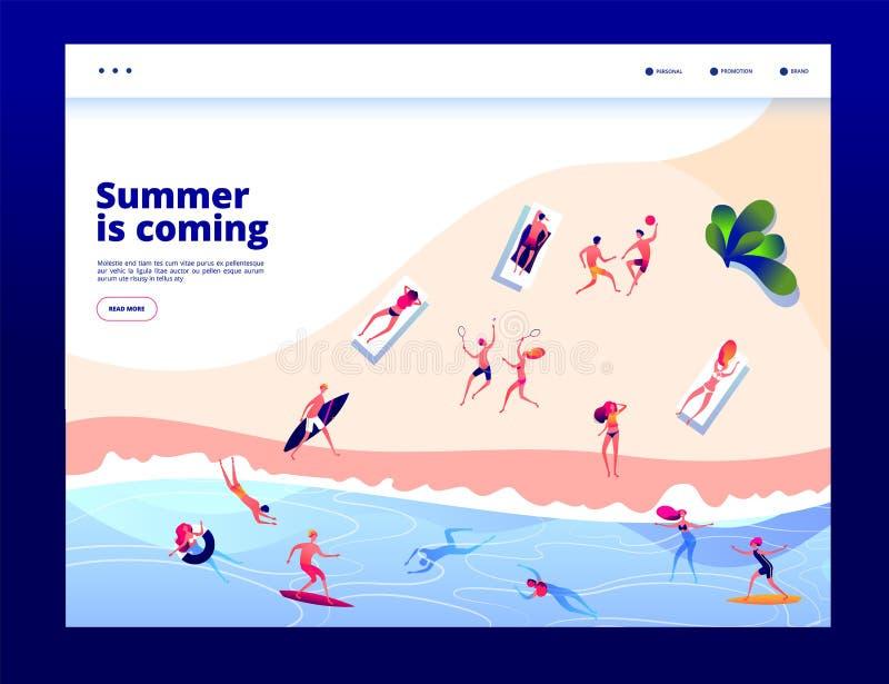 Povos da praia do ver?o Mar nadador sunbursting da multidão no vocação do verão Mulheres felizes dos homens que relaxam o vetor d ilustração stock
