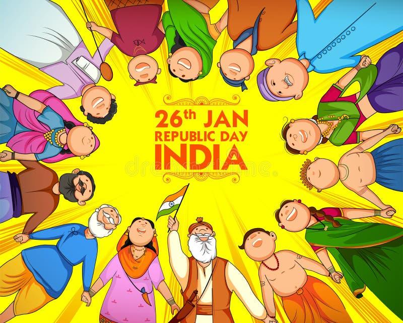 Povos da religião diferente que mostram a unidade na diversidade no dia feliz da república da Índia ilustração do vetor