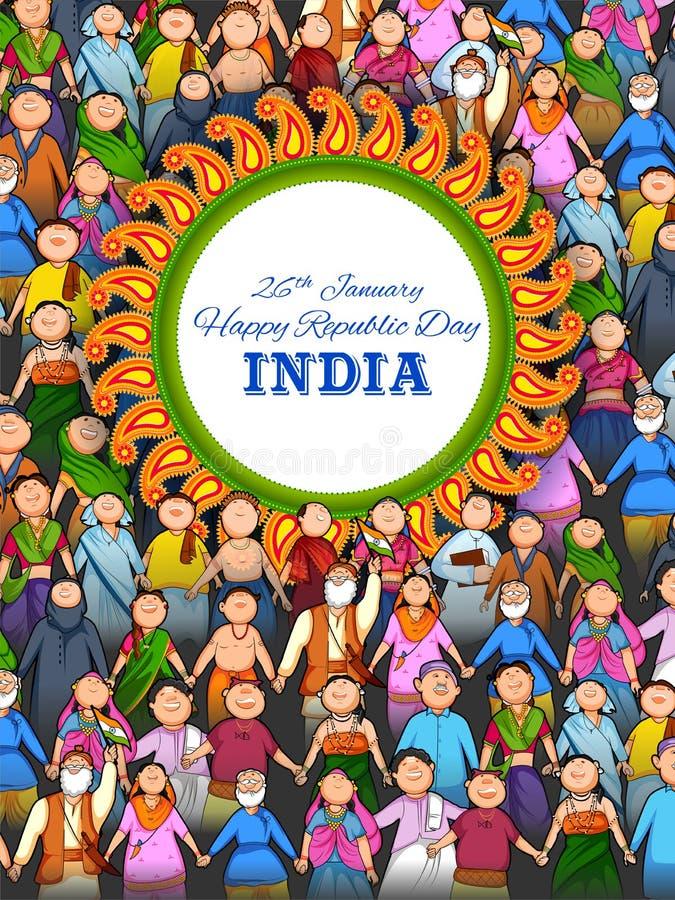 Povos da religião diferente que mostram a unidade na diversidade no dia feliz da república da Índia ilustração royalty free