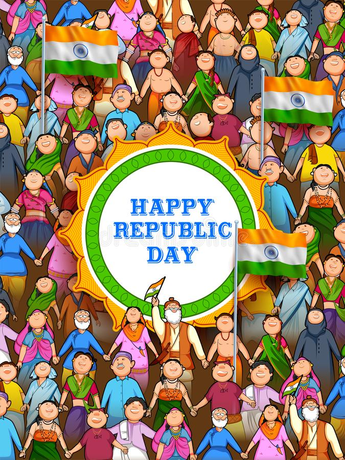Povos da religião diferente que mostram a unidade na diversidade no dia feliz da república da Índia ilustração stock