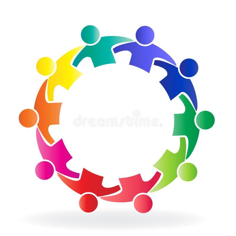 Povos da reunião de negócios dos trabalhos de equipa do logotipo em um molde criativo do ícone do projeto do círculo ilustração stock