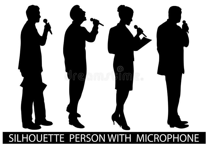 Povos da silhueta com microfone ilustração stock