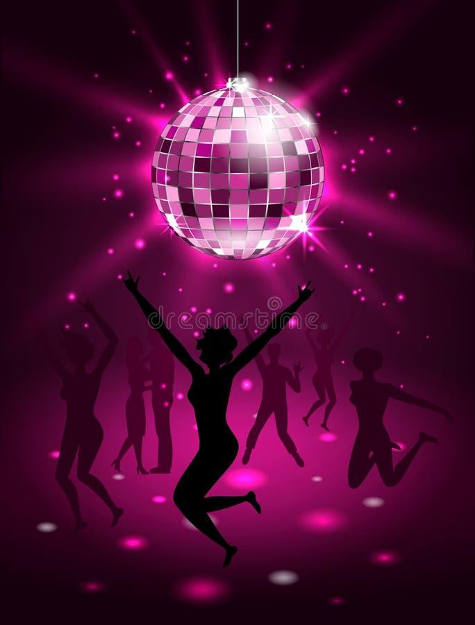 Povos da silhueta que dançam no clube noturno, bola do disco, fundo do partido do brilho ilustração stock