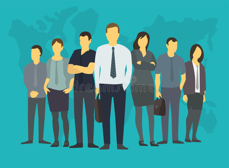 Povos da unidade de negócio da empresa de caixeiros de escritório Com seu líder, chefe Formação na bolsa de valores Em um azul ilustração royalty free