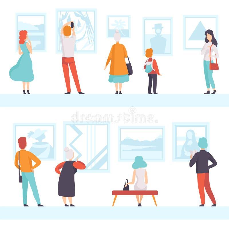 Povos das idades diferentes que olham as imagens que penduram na parede, visitantes da exposição que veem exibições do museu na a ilustração do vetor