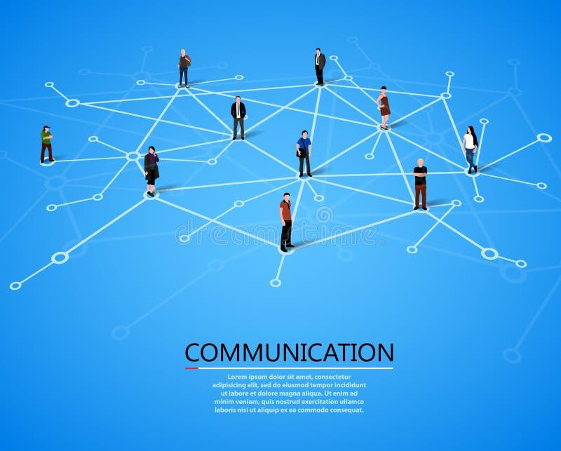 Povos de conexão Conceito social da rede ilustração royalty free