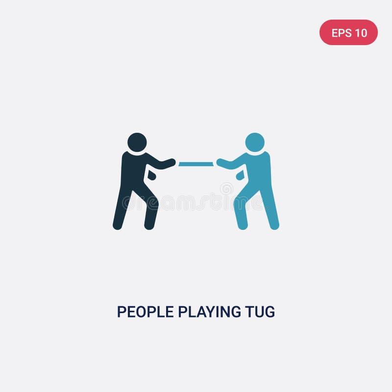 Povos de duas cores que jogam o ícone do vetor do conflito do conceito recreacional dos jogos povos azuis isolados que jogam o ve ilustração do vetor