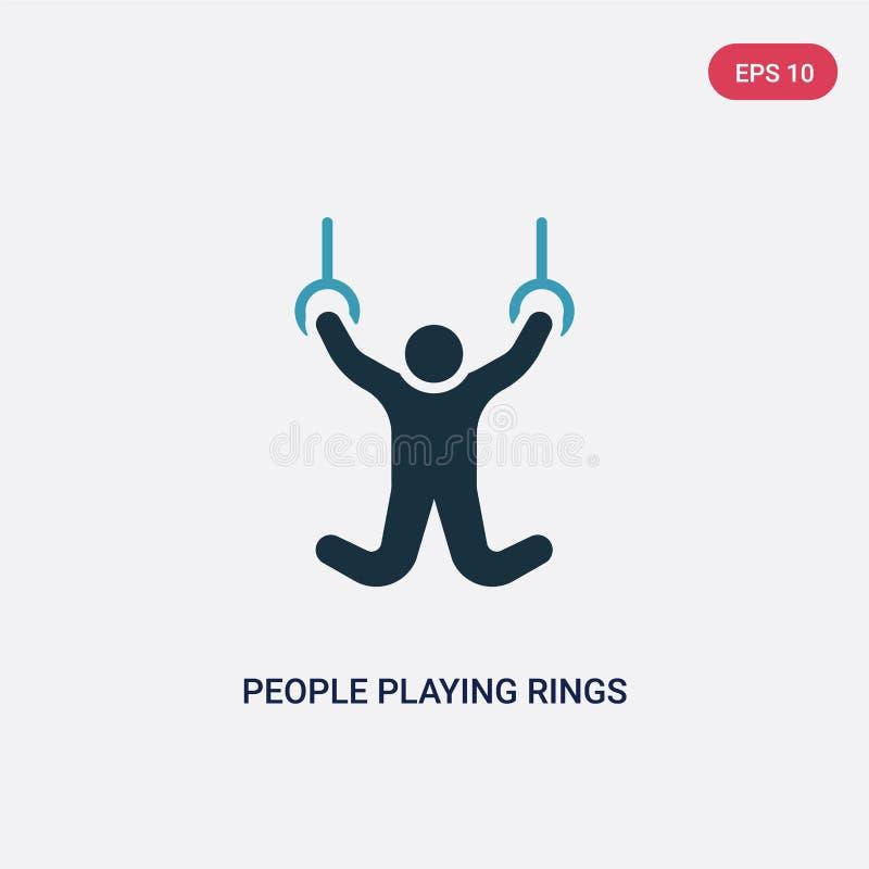 Povos de duas cores que jogam o ícone do vetor dos anéis do conceito recreacional dos jogos povos azuis isolados que jogam o símb ilustração do vetor