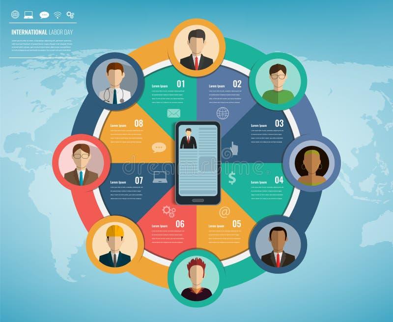 Povos de ocupações diferentes com elementos do infographics Ícones das profissões ajustados Molde do negócio para o international ilustração royalty free