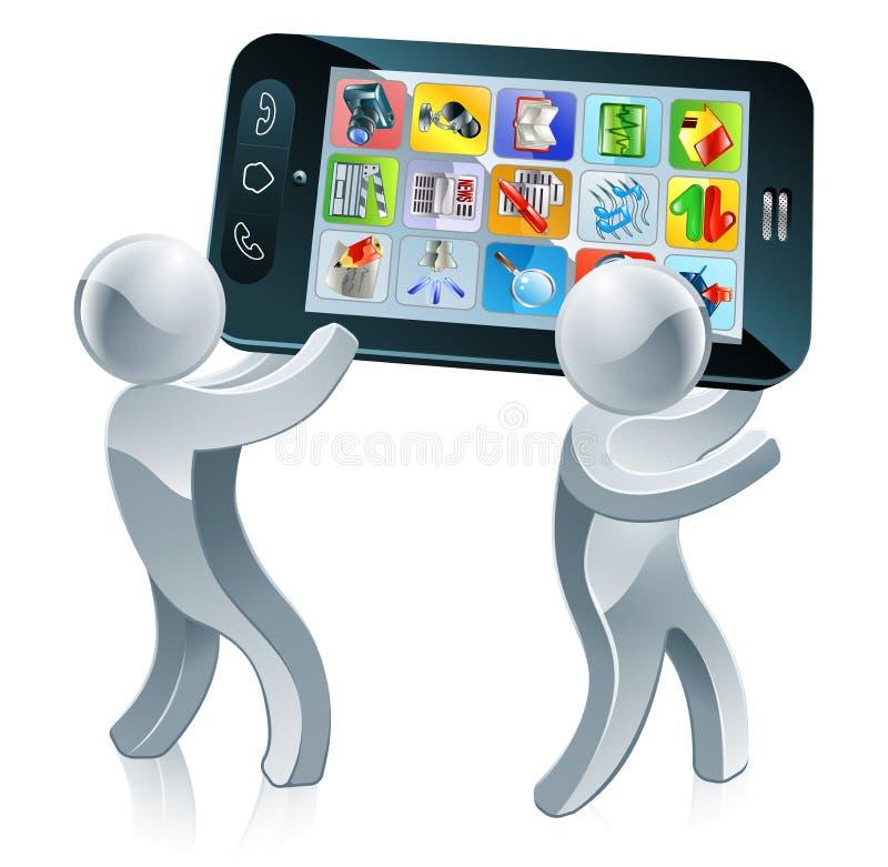 Povos de prata do telefone celular ilustração royalty free