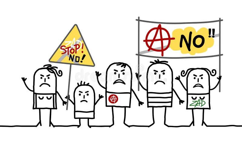 Povos de protesto do anarquista dos desenhos animados ilustração royalty free